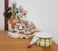 German Figural Piece dated 1850 and German Porcelain Novelty Trinket Dish