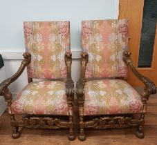 Pair of Excellent Large Continental Walnut Throne Armchairs