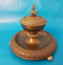 Large Victorian Brass Desk Inkwell