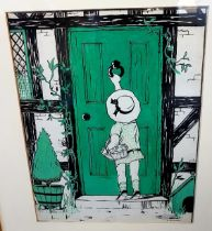 Dorothy Darnell Pen and Ink titled The Visitor, framed and signed by the artist