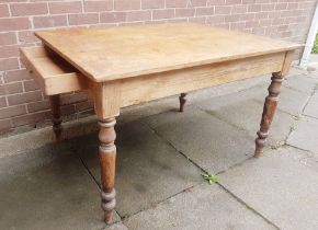 Traditional Victorian Plank Top Pine Kitchen Dining Table with Integral Cutlery Drawer