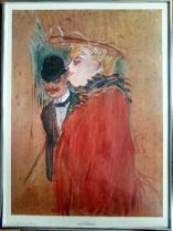 "1960s Framed and Glazed Henri De Toulouse Lautrec Lithograph titled ""Couple"""