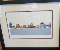 Large Signed and Framed Jeremy Dickinson Limited Edition Truckpark 2