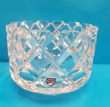 Large Orrefors Cut Glass Vase with measuring 15cm in diameter with Label