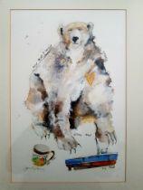 Janice Gray Framed Mixed Media Original Mixed Media Painting of Polar Bear