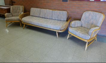 Ercol Beech and Elm Sofa Couch with 2 Matching Armchairs