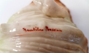 Nautilus Pottery Porcelain Oyster Shell with painted makers mark, produced in Glasgow 1900