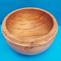 A Large Spalted Beech Turned Wooden Bowl