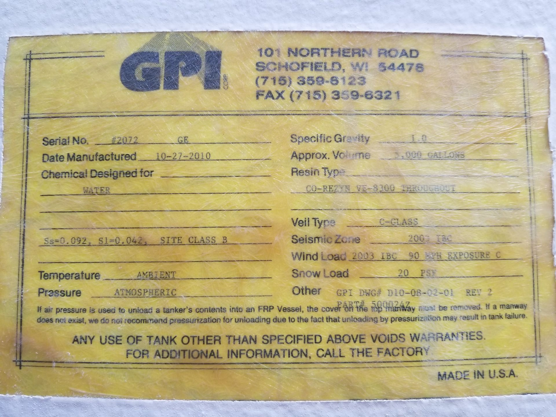 2010 GPI Corp 5000 Gallon Fiberglass Tank - Image 5 of 5