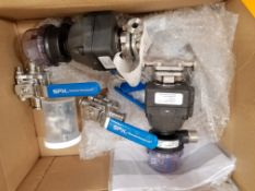 Box of SPX Hand Valves and ITT Engineered Electronic .5 Inch Valves