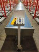 Europool Stainless Steel Dual Lane 17 inch wide matte top case conveyor - Ground level (Manual Pick