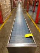 Europool Stainless Steel 17 inch wide matte top case conveyor - Ground level (Manual Pick System C)