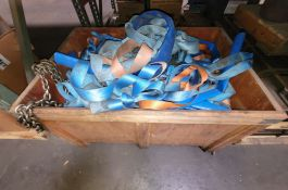 LOT - CRATE OF RIGGING CHAIN, NYLON SLINGS, ETC.