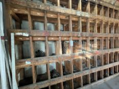 LOT - WOOD RACK, W/ CONTENTS: PIPE FITTINGS