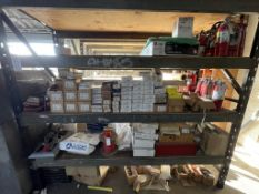 LOT - CONTENTS ONLY OF RACK, TO INCLUDE: HEAT DETECTORS, FIRE EXTINGUISHERS, FIRE ALARM SYSTEM,