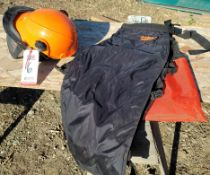 LOT - STIHL SAW HELMET AND SET OF CHAPS