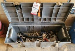 TOOL BOX, W/ CONTENTS: VISE GRIPS, CLAMPS, DRILLS AND RELATED ITEMS