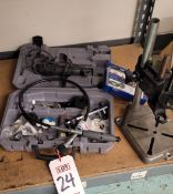 LOT - VARIABLE SPEED DREMEL MODEL 395, W/ FLEX SHAFT AND MOTO-TOOL DELUXE DRILL PRESS STAND