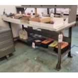 6' WORK BENCH, W/ BACK SHELF, CONTENTS NOT INCLUDED