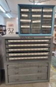 LOT - 2-PIECE DRILL INDEX, W/ CONTENTS AND 15-DRAWER PLASTIC PARTS CABINET
