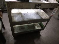 LOT - (1) METAL CART, W/ WHEELS AND (1) TABLE, W/ SLEEVES