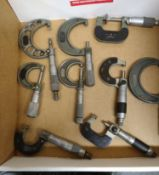 LOT - (9) ASSORTED MICROMETERS, VARIED SIZES