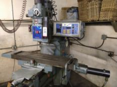 "SHIZUOKA TURRET VERTICAL MILLING MACHINE, MODEL AN-S, TABLE DISPLACEMENT 30"" X 12"""