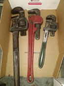 "LOT - (3) PIPE WRENCHES: 14"", 18"" AND 24"""