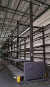 LOT - (7) 12' SECTIONS OF CANTILEVER PALLET RACK, 2-SIDED, 20' HT, WIRE DECKING