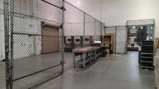 "LOT - SLIDING SECURITY DOOR FOR 94"" WIDE OPENING AND 46-1/2' X 10' HT SECURITY FENCE W/ 8' SLIDING"