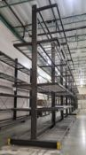 LOT - (3) 12' SECTIONS OF CANTILEVER PALLET RACK, 2-SIDED, 20' HT, WIRE DECKING