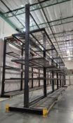 LOT - (4) 12' SECTIONS OF CANTILEVER PALLET RACK, 2-SIDED, 20' HT, WIRE DECKING