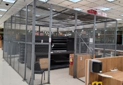 FENCED SECURITY ENCLOSURE, 4-SIDED, W/ ROOF, APPROX. 23' X 17-1/2' X 10' HT, W/ ONE 4' WIDE DOOR