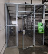 FENCED SECURITY ENCLOSURE, 3-SIDED, W/ FENCED ROOF, 28' X 9-1/2' X 10' HT