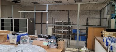 "FENCED SECURITY ENCLOSURE, 3-SIDED, 28' X 10' X 10' HT, W/ (1) 38"" WIDE SLIDING FENCE DOOR, NO ROOF"