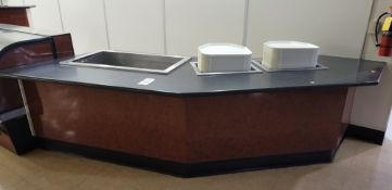 ODD-SHAPED RESTAURANT COUNTER W/ LUNCH TRAY DISPENSERS AND ICE SINK FOR COLD DRINKS, COMES W/ TRAYS