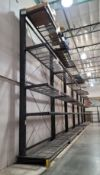LOT - (6) 12' SECTIONS OF CANTILEVER PALLET RACK, 1-SIDED, 20' HT, WIRE DECKING