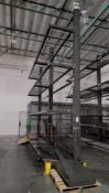 LOT - (2) 12' SECTIONS OF CANTILEVER PALLET RACK, 1-SIDED, 20' HT, WIRE DECKING