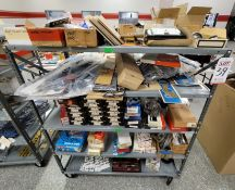 LOT - 4' X 2' STOCK CART, W/ CONTENTS: PISTON RING SETS, GASKETS, CAM BEARINGS, BOLT & STUD SETS,
