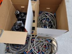 LOT - BRAIDED HOSE W/ VARIOUS FITTINGS, STOCK PULLEYS, ETC.