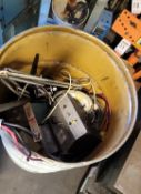LOT - STEEL DRUM FULL OF MISC ELECTRONICS, WIRE, ETC.