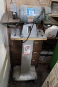 BALDOR 1/2 HP DOUBLE END GRINDER, CAT. NO. 500, W/ PEDESTAL STAND ON CASTERS