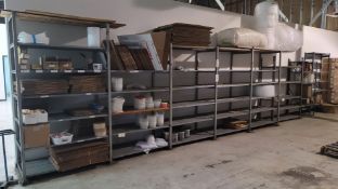 LOT - 32 LINEAR FT OF ASSORTED SHELVING, CONTENTS NOT INCLUDED