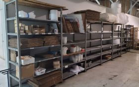 LOT - CONTENTS ONLY OF SHELVING, TO INCLUDE SHIPPING SUPPLIES: BOXES, BUBBLE WRAP, SHIPPING PEANUTS,