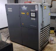 2002 ATLAS COPCO GA37 AIR COMPRESSOR, 50 HP, 132 PSI MAX PRESSURE, S/N AII382353