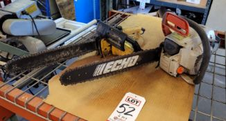 """LOT - (1) ECHO GAS CHAINSAW W/ 18"""" BAR AND (1) 16"""" EAGER BEAVER ELECTRIC CHAINSAW"""