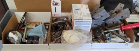 LOT - (3) BOXES OF MISC ITEMS, TO INCLUDE: REAR VIEW MIRRORS, ADHESIVES, SAFETY GLASSES, EAR