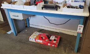 """1-DRAWER WORK TABLE, 6' X 30"""", W/ POWER STRIP, CONTENTS NOT INCLUDED"""