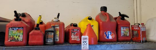 LOT - APPROX. (10) PLASTIC GAS CANS (IF YOU BUY THIS LOT, YOU MUST TAKE THEM W/ THEIR CONTENTS)