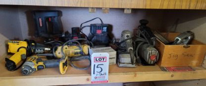 LOT - ASSORTED CORDED AND BATTERY OPERATED POWER TOOLS: TOO MUCH TO LIST, SEE PHOTOS
